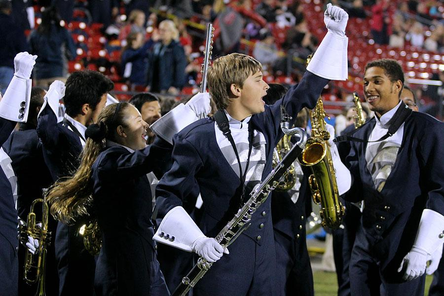 Senior Collin McDowell chants with the band during the game against Heritage HS on Nov. 8.