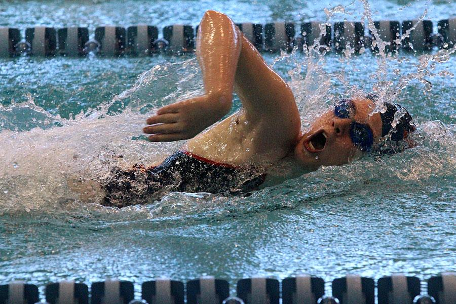 Sophomore Bailey Stone swims the 50 yard freestyle as Tisca Prelims on Dec. 14.