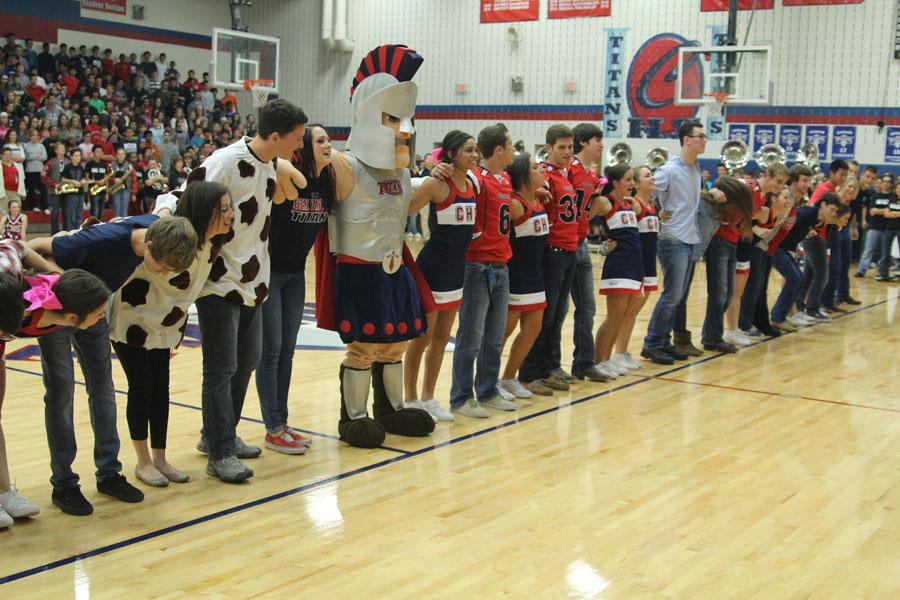 At the final pep rally on Oct. 25, the seniors take a bow after finishing their dance.