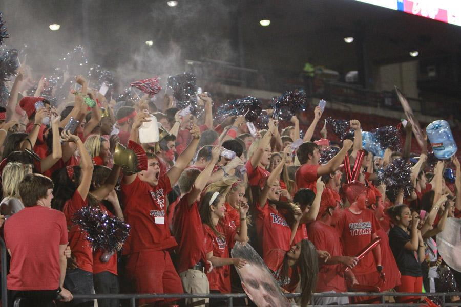 On Oct. 13, students gather in the stands at Toyota Stadium to cheer on the varsity football team during the game against Prosper HS.