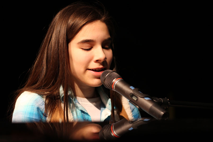 "Freshman Jaiden Moffitt rehearses her song, ""Little Talks"" by Of Monsters and Men before the Talent Show on Feb. 7."