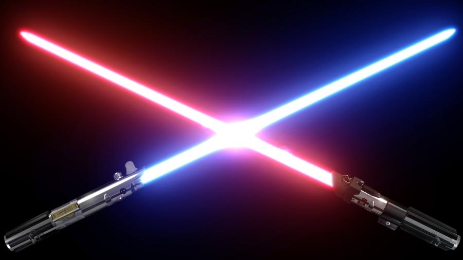 The old-fashioned smooth looking lightsaber used in Episode I-VI