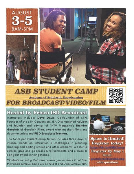 Broadcasting/Video/Film Camp open for all students