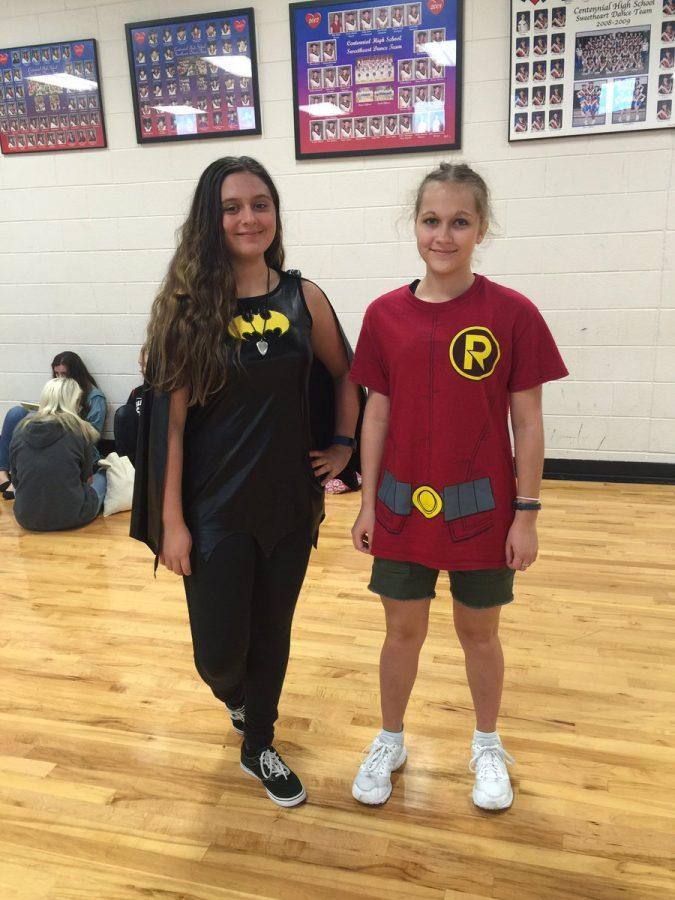 Two students dress as Batman and Robin