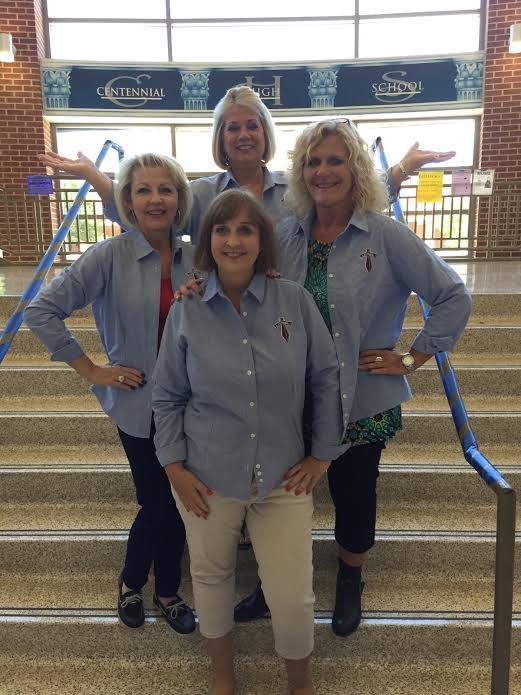 CHS staff showed their Titan spirit in matching Centennial shirts