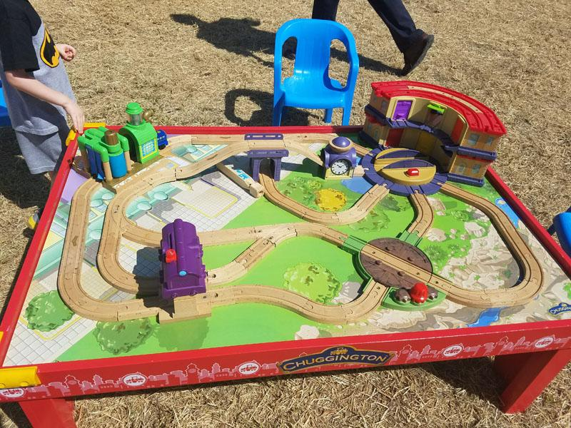 Train table available for children to play with.