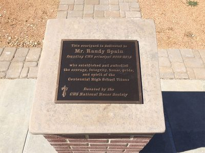 Plaque dedicated to Mr. Randy Spain was placed in the CHS courtyard in December.