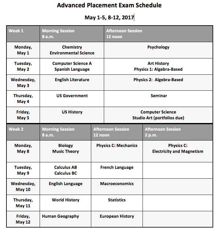 The+AP+testing+schedule.+