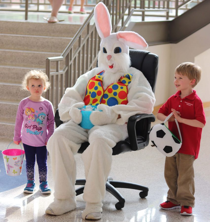 Mr. Elder's children with the Easter bunny.