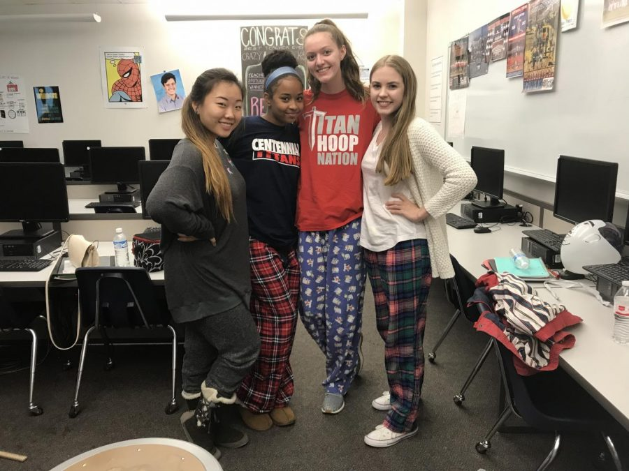 Students+showcase+their+Centennial+spirit+by+dressing+in+their+pajamas+for+HOCO+spirit+day+1.