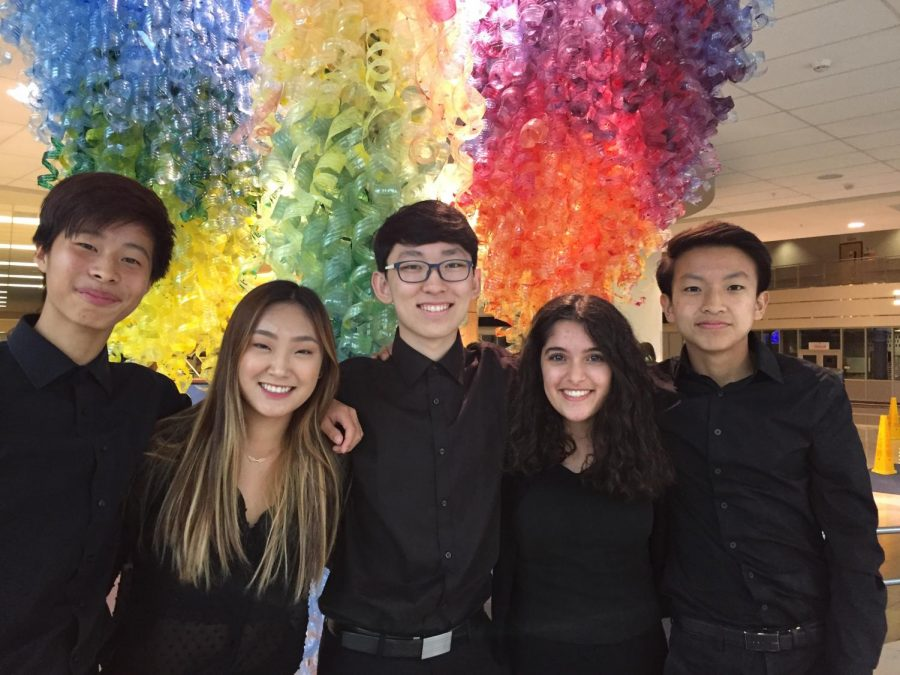 Orchestra+All-State+Members+left+to+right%3A++Dennis+Park%2C+Emily+Yu%2C+Brian+Lee%2C+Nikki+Naghavi%2C+Justin+Kim.+Not+pictured%3A+David+Moon.
