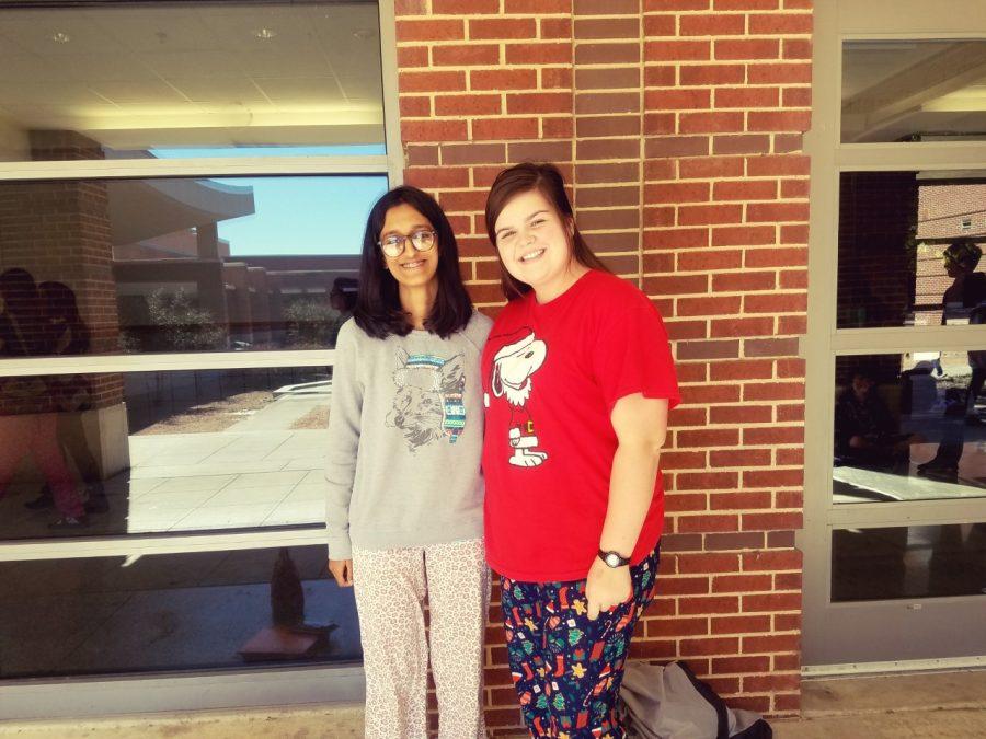 Divya Daga, sophomore, Sammy raines, Junior, kick off red ribbon week in pajamas.