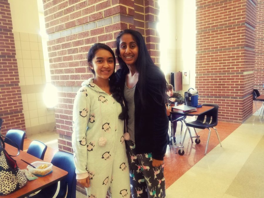The cafeteria was a hot spot for people in pajamas like sophomores Aleena Alam, Aisley George.