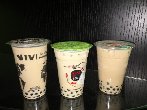 The milk teas from Vivi Bubble Tea, Kung Fu Tea, and Potstickers side by side.