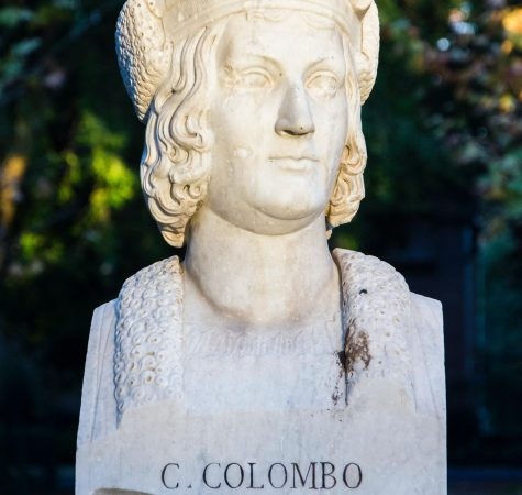A sculpture of Christopher Columbus in Rome, Italy.